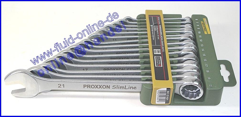 proxxon 23821 satz ring maulschl ssel 6 21mm 15 teiliger satz mit wandhalter 870. Black Bedroom Furniture Sets. Home Design Ideas
