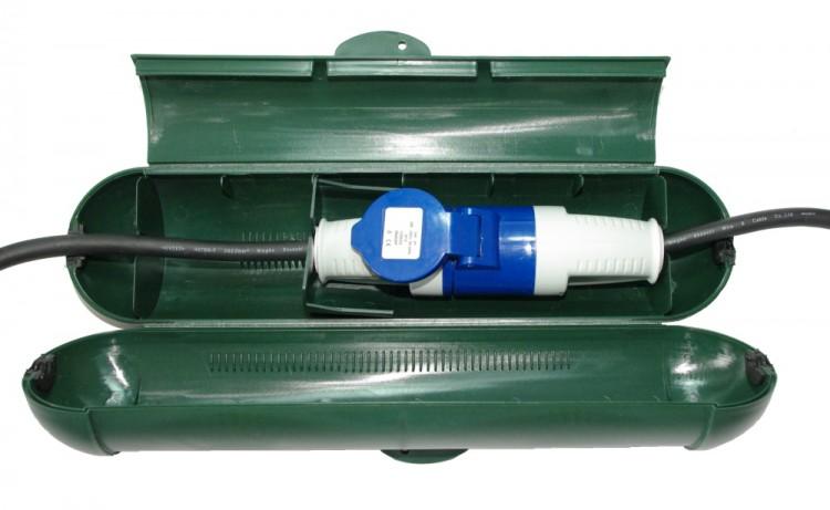 Sicherheitsbox GRÜN für CEE Schuko Stecker Kabelbox für Garten & Camping